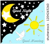 good morning.good night and... | Shutterstock .eps vector #1204265260