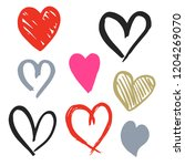 set of eight hand drawn heart.... | Shutterstock .eps vector #1204269070