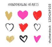 set of nine hand drawn heart.... | Shutterstock .eps vector #1204269103