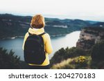 tourist traveler with backpack... | Shutterstock . vector #1204270183