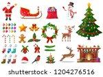 christmas new year set. santa... | Shutterstock .eps vector #1204276516