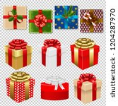 colorful gift box set isoiated   | Shutterstock . vector #1204287970