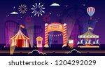 night amusement park vector... | Shutterstock .eps vector #1204292029