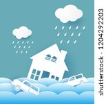 city floods natural disasters... | Shutterstock .eps vector #1204292203