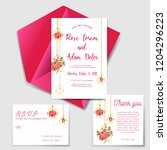 wedding invitation set with... | Shutterstock .eps vector #1204296223