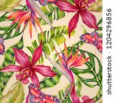 floral seamless tropical... | Shutterstock . vector #1204296856