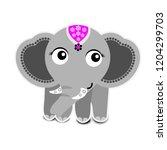 cute elephant on white... | Shutterstock .eps vector #1204299703