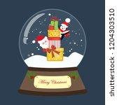 christmas snow globe on the...   Shutterstock .eps vector #1204303510