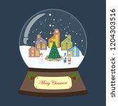 christmas snow globe on the...   Shutterstock .eps vector #1204303516