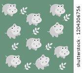 cute hippopotamus background | Shutterstock .eps vector #1204306756