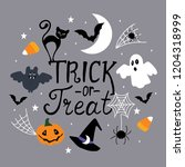 halloween greeting card  poster ... | Shutterstock .eps vector #1204318999