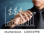 Business hand drawing a growth graph - stock photo