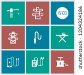 cable icon. collection of 9... | Shutterstock .eps vector #1204324186