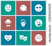 facial icon. collection of 9... | Shutterstock .eps vector #1204324429