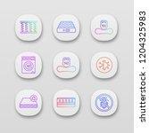 mattress app icons set. ui ux...