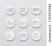 mattress app icons set. ui ux...