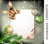 christmas fir tree with banner  ... | Shutterstock . vector #120432970