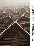 railway in fog on station ... | Shutterstock . vector #120433543