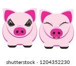 cute cartoon pig  stylized...   Shutterstock .eps vector #1204352230