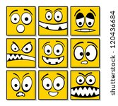 Set of funny yellow emotions. - stock vector