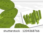 nopal cactus paddle  peeled and ...   Shutterstock .eps vector #1204368766