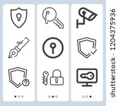 simple set of  9 outline icons... | Shutterstock .eps vector #1204375936
