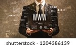 www with businessman holding a... | Shutterstock . vector #1204386139