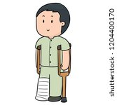 vector of man using crutches   Shutterstock .eps vector #1204400170