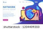 programmer with jigsaw shield... | Shutterstock .eps vector #1204409203