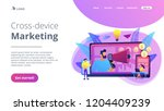 marketer delivering ads with... | Shutterstock .eps vector #1204409239