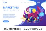 digital marketing team with... | Shutterstock .eps vector #1204409323