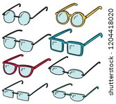 vector set of eyeglasses   Shutterstock .eps vector #1204418020