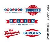 set of vintage fast food... | Shutterstock .eps vector #120442069