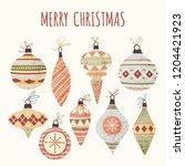 hand drawn vector christmas... | Shutterstock .eps vector #1204421923