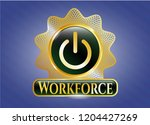 golden badge with power icon... | Shutterstock .eps vector #1204427269