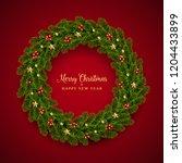 christmas fir wreath background ... | Shutterstock .eps vector #1204433899