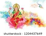 the hindu goddess of wealth.... | Shutterstock .eps vector #1204437649