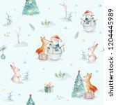 watercolor merry christmas... | Shutterstock . vector #1204445989