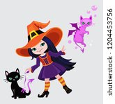cute witch turns a black cat... | Shutterstock .eps vector #1204453756