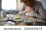 old lady taken too much pills ... | Shutterstock . vector #1204455673