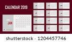 business calendar set 2019...   Shutterstock .eps vector #1204457746