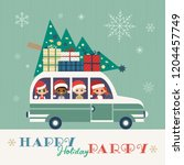 happy holidays party poster.... | Shutterstock .eps vector #1204457749