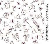 seamless pattern with new year... | Shutterstock .eps vector #1204458109