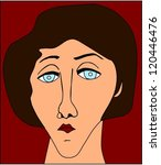 portrait of sad woman | Shutterstock .eps vector #120446476