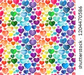 multicolored watercolor hearts... | Shutterstock . vector #1204470586
