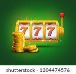 slot machine lucky sevens... | Shutterstock . vector #1204474576