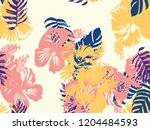 tropical background. green ... | Shutterstock .eps vector #1204484593