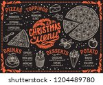 christmas menu template for... | Shutterstock .eps vector #1204489780