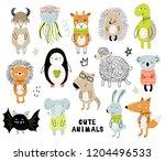 vector poster with cartoon cute ... | Shutterstock .eps vector #1204496533
