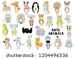Stock vector vector poster with cartoon cute animals for kids in scandinavian style hand drawn graphic zoo 1204496536